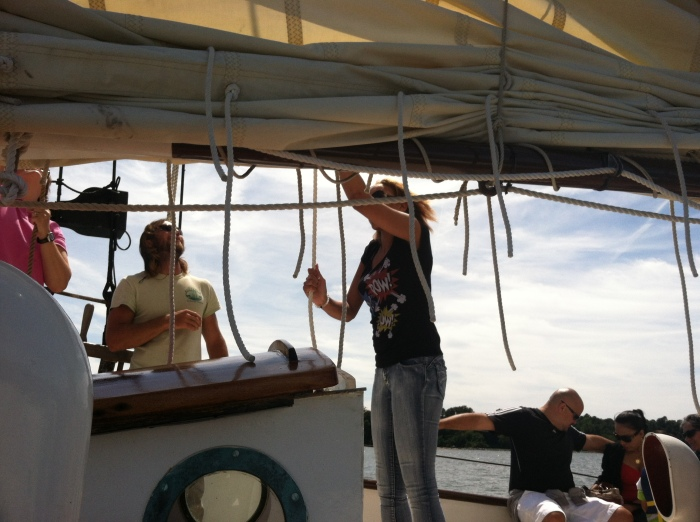 Me raising the sails.